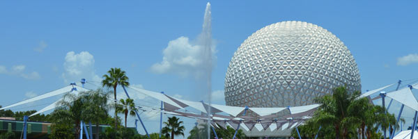 View of Epcot Ball and fountain Wide