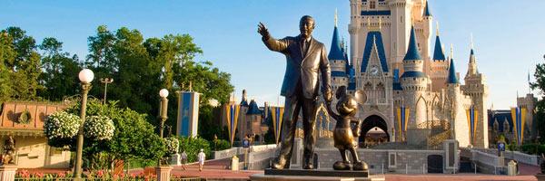 Walt and Mickey guarding Cinderellas Castle at Magic Kingdom Disney World